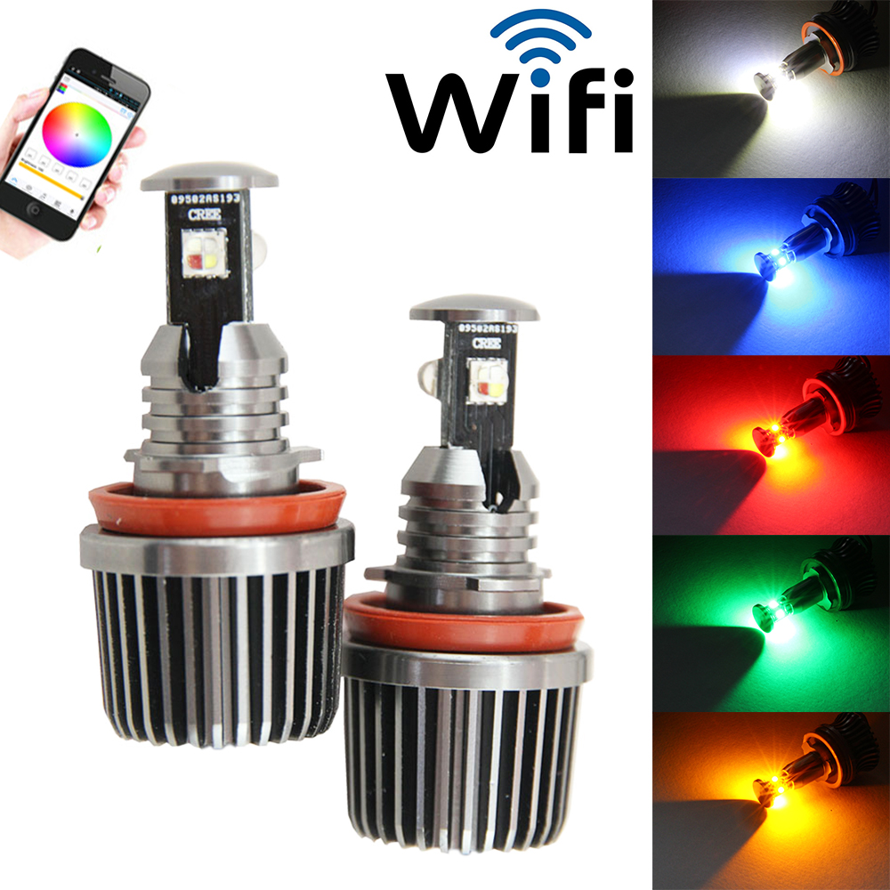 RGB LED Marker Angel Eyes Rings Wifi Control Lights Bulbs for BMW 1 3 5 X Series ...