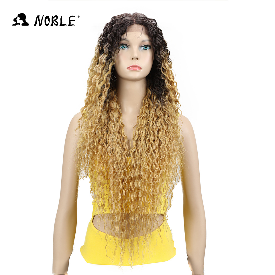 "Noble Lace Front Synthetic Wigs For Women Middle Part Long 30"" Soft Ombre Blonde Wig With Dark Roots Wavy Heat Resistant Fiber"