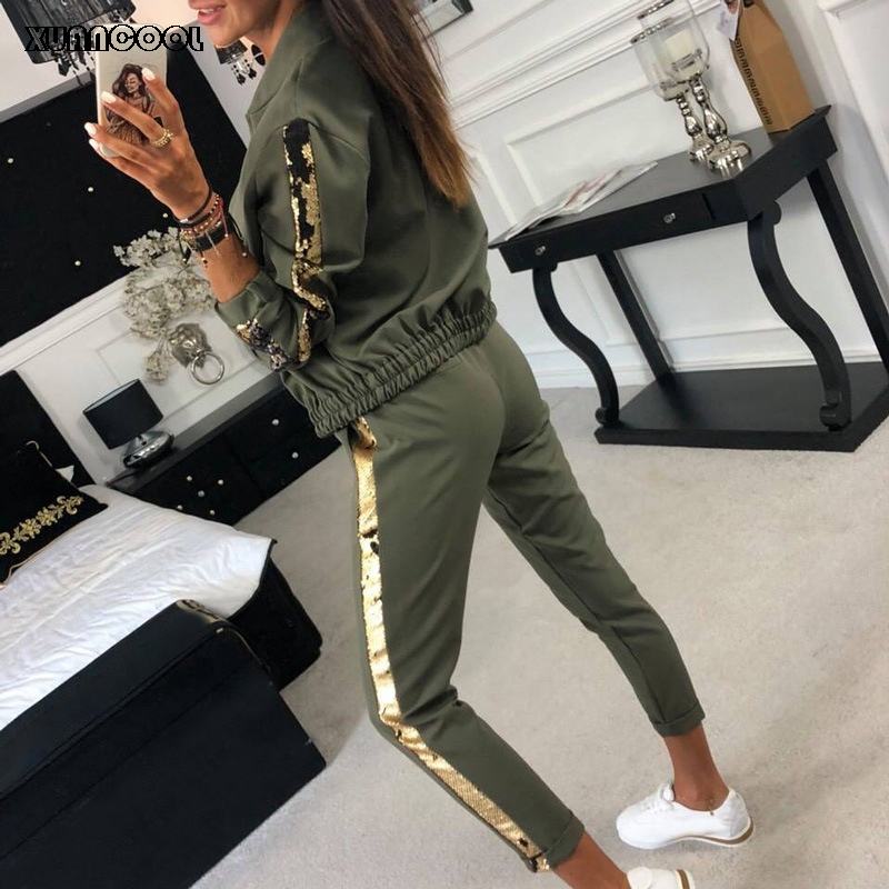 XUANCOOL Tracksuit Women Fashion Casual Sequin Sportswear Suit Zipper Cardigan Long Pant Two Piece Set Chandal Mujer