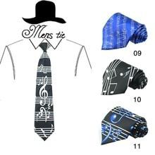 Горячий дизайн нот черный 4 дюймов королевский синий звук спектра большой музыкальный счет галстук полиэстер тканые классические мужские вечерние галстуки