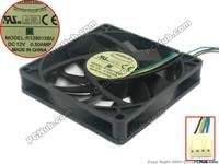 Emacro For Everflow R128015BU DC 12V 0.50A 80x80x15mm 4 Wire Server Cooler Fan