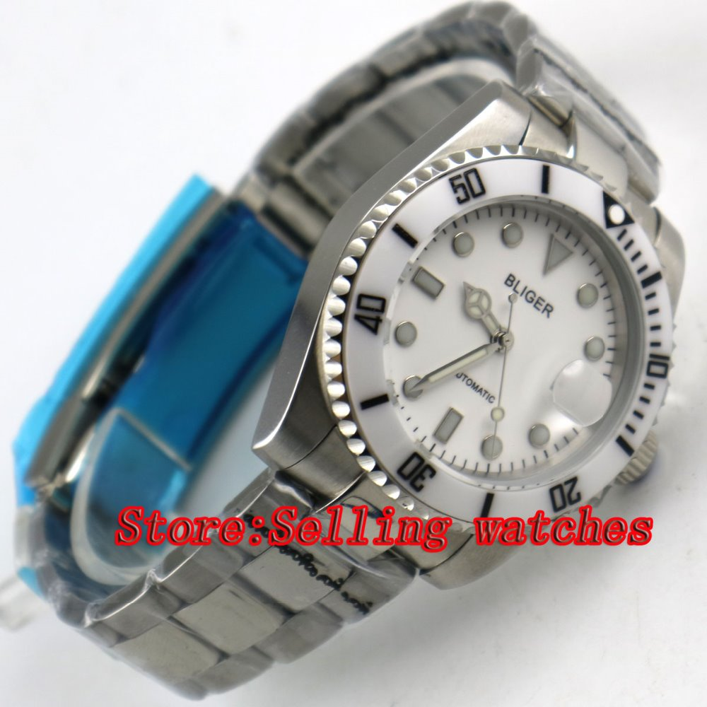 Bliger 40mm white dial luminous saphire glass white Ceramic Bezel Automatic movement men's watch men цена и фото