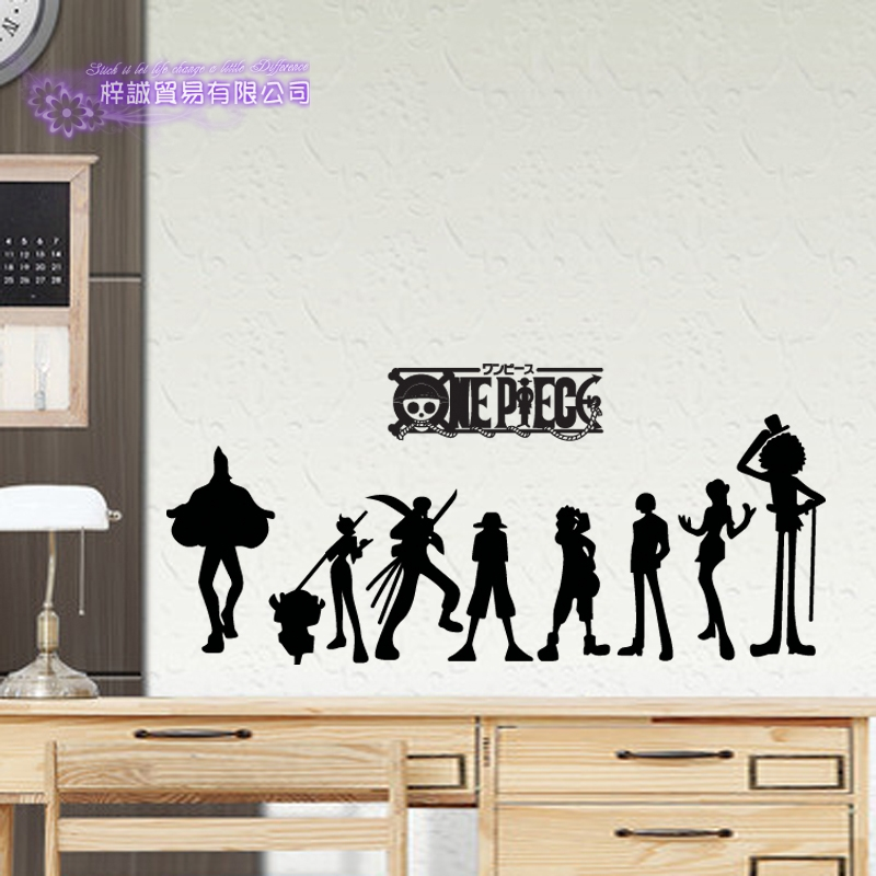 9aea93c91 US $9.62 26% OFF|DCTAL ONE PIECE Silhouette Decal Japanese Cartoon Wall  Sticker Vinyl Decal Decor Home Decorative Decoration-in Wall Stickers from  ...