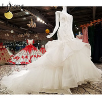 Gorgeous 2018 Mermaid Wedding Dresses Deep V Neck Sexy Crystal Beaded Pearls Bridal Gowns Ruffles Trumpet