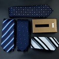 7cm Wide Blue Striped Print Elegant Necktie For Men Business Fashion Male Suit Accessories Popular Office Gravata