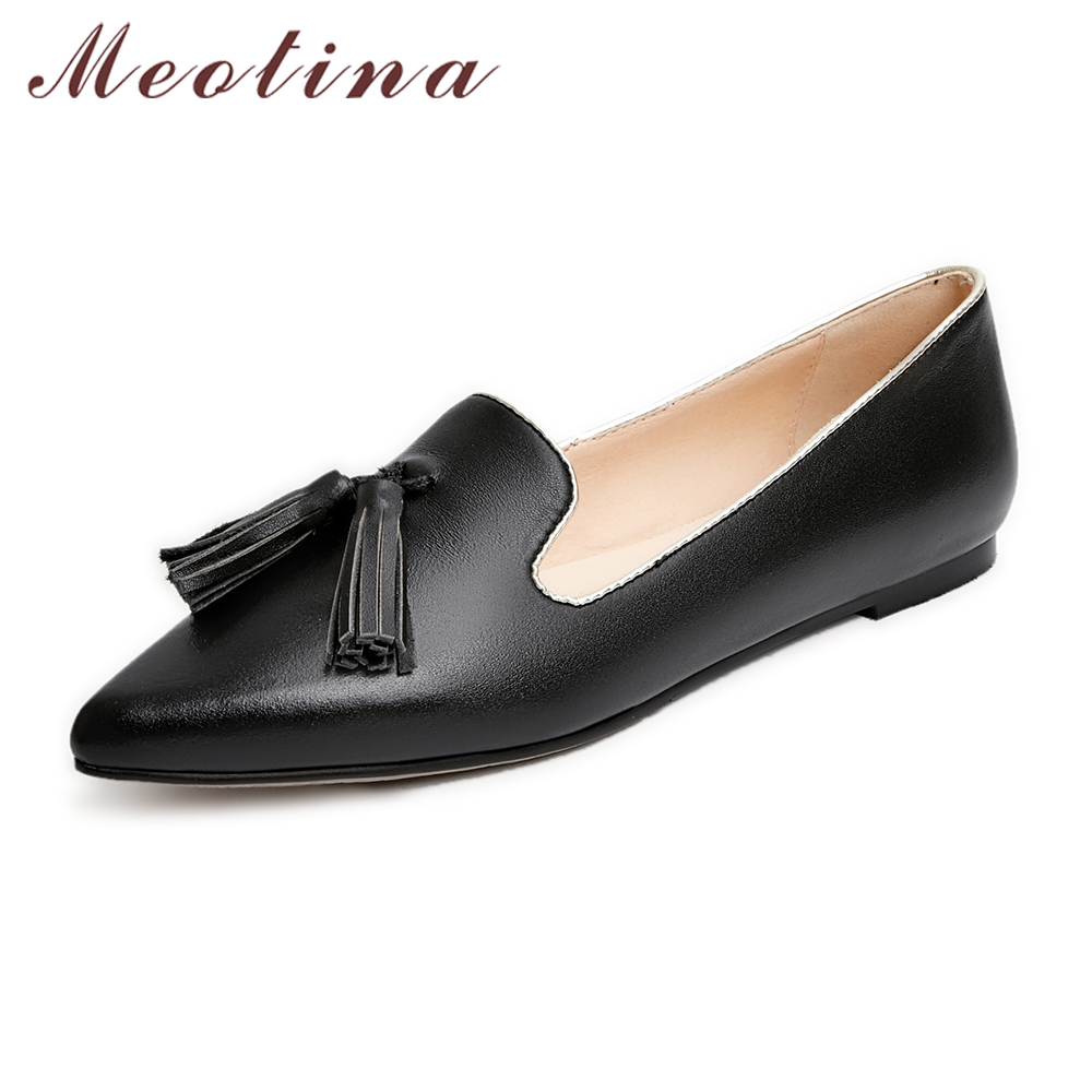 Meotina Genuine Leather Shoes Women Fringe Flats Women Pointed Toe Ballet Ladies Flats Autumn Causal Boat Shoes Black Size 9 10 summer slip ons 45 46 9 women shoes for dancing pointed toe flats ballet ladies loafers soft sole low top gold silver black pink