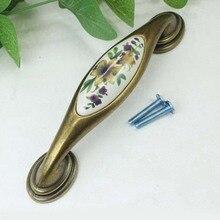 128mm Rustico pastorale ceramic furniture handle bronze kitchen cabinet handle antique brass dresser pull 5″ porcelain handle