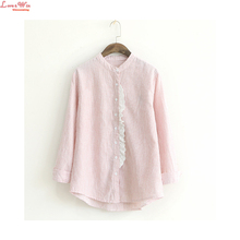 Stand Collar Long Roll-up Sleeve Lace Selvege Striped Leisure Shirt Artistic Single-breasted Summer Cardigans Casual Camicia