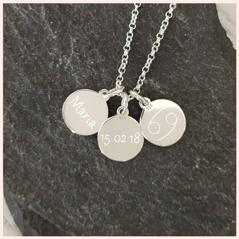 XiaoJing 925 silver custom engraving letter or number disc Personalized pendant necklace women fashion jewelry Free shipping