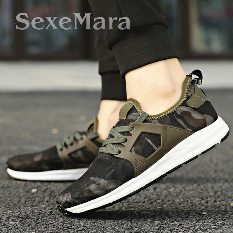 Дышащая Мужская Повседневная Обувь Зашнуровать мужская обувь Кроссовки Плоским Обувь Для Ходьбы Спорт Камуфляж Zapatillas Hombre Мягкий Свет обуви