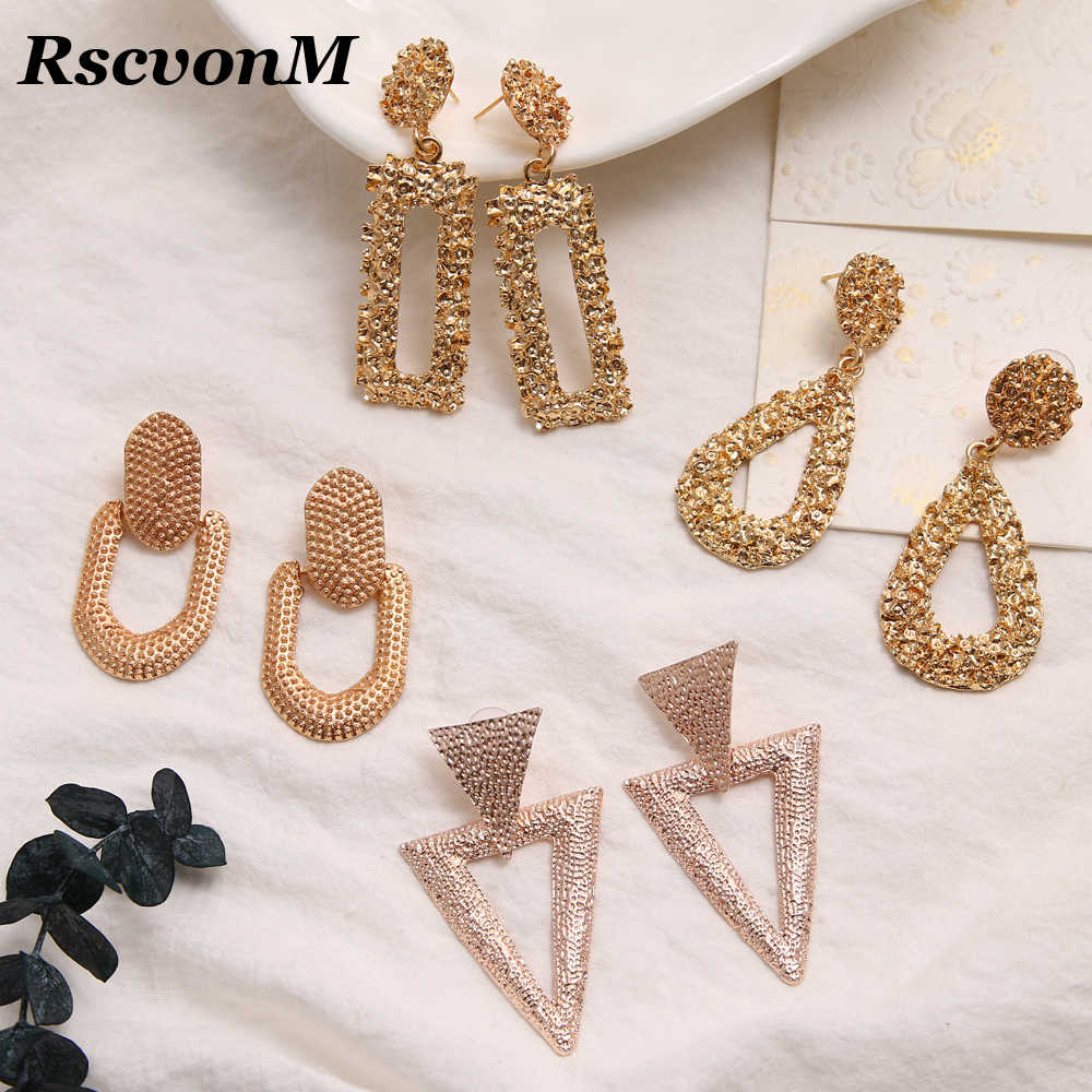2019 New Fashion Silver Gold Color Twisted Metal Round Circle Earrings For Women Girls Statement High Street Punk Jewelry