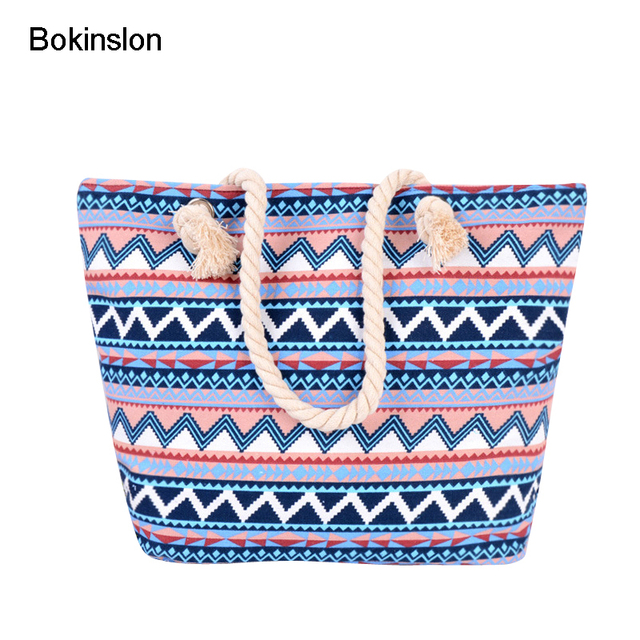 Bokinslon Handbags Bags Women Canvas Geometric Shapes Woman Crossbody Bag Fashion Casual Female Rope