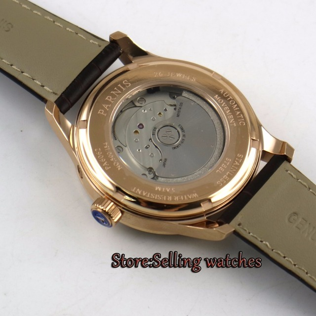 42MM PARNIS 26 jewels Japanese 9120 automatic Self-Wind Mechanical Rose gold case white dial Sapphire Crystal mens watch