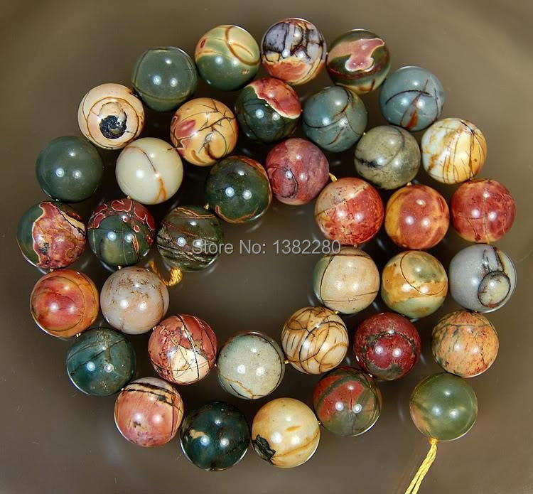 ! Lovely 10MM PICASSO chalcedony STONE ROUND BALL LOOSE BEADS 15