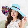Mujeres sol del verano sombreros wholesalebeach sombreros para las mujeres plegable del sombrero del sol estampado de flores de ala ancha sombreros para el sol para las mujeres con grandes cabezas
