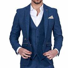 Men Suits Pants Vest Jacket Tuxedos Groom Man Blazer Lapel Wedding-Best Blue One-Button
