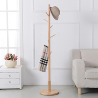 (color multicolor ) 9 hook Modern Solid Wood Living Room Coat Rack Display Stands Scarves Hats Bags Clothes Shelf