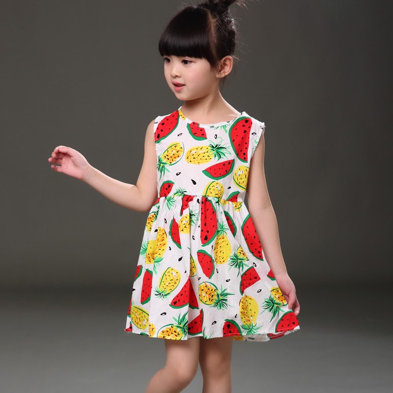 Baby Girls Cothes Princess Girl Dress Fashion Children Costume Fruit Watermelon Print Summer Kids Girls Sleeveless Dresses ...