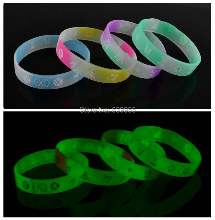 10x glow in dark EXO member Silicone Wristband Bracelets Bangle Korean S.M.Entertainment Company fashion jewelry Wholesale