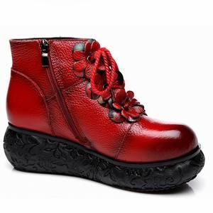 Image 4 - GKTINOO פלטפורמת מגפי נשים בעבודת יד עור אמיתי קרסול מגפי גבירותיי נעלי רך רטרו טריזי נעלי נשים