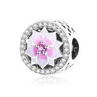 Magnolia Bloom Charm With Pale Cerise Enamel And Pink CZ Fit Pandora Charms Bracelet Original 100