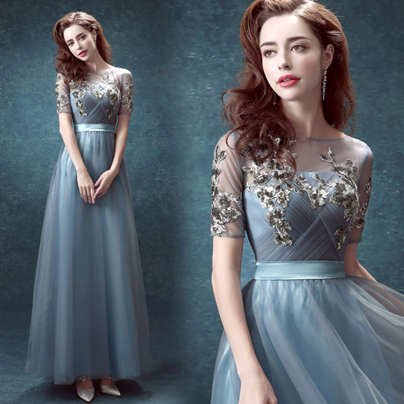 New Arrived Ombre Prom Dress Party Blue Scoop Sequined Dress Long