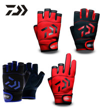 Daiwa 1 Pair 3/5 Cut Finger Leather Fishing Gloves Sports Slip-resistant Gloves PU Outdoor Fishing Hunting Anti Slip Gloves New(China)