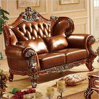 high quality  European  antique living room sofa furniture genuine leather set 10304