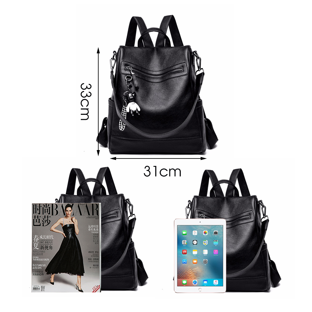 Image 3 - Herald Fashion Women Backpack for School Style Leather Student Bag For College Simple Design Women Casual Daily Packs mochilaBackpacks   -