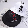 2017 Summer Panama Caps Cool Homme Hunting  Shoelace DERUNIMHF Embroidery Dome Bucket Hat for Women Bob Men Polo Hip hop Fisher