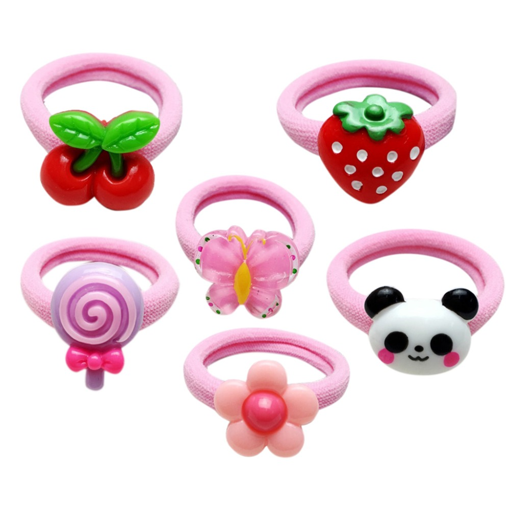1Pc 4cm Children Kids Colorful Elastic Rubber Band Cute Acrylic Cartoon Fruit Animal Hair Rope Thicken Wide Scrunchy Ponytail Ho