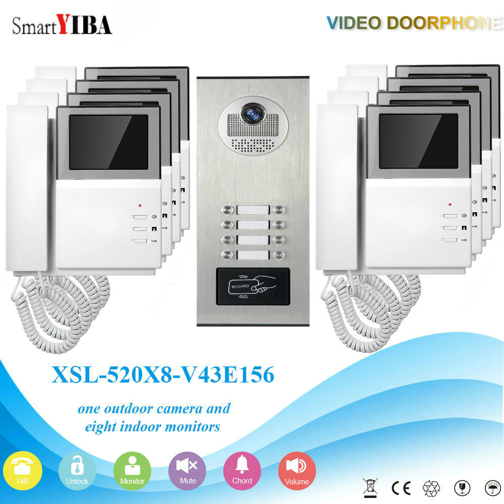SmartYIBA Video Intercom 4.3 Inch Video Door Phone Doorbell Intercom System RFID Access Control Door Camera For 8 Unit ApartmentSmartYIBA Video Intercom 4.3 Inch Video Door Phone Doorbell Intercom System RFID Access Control Door Camera For 8 Unit Apartment