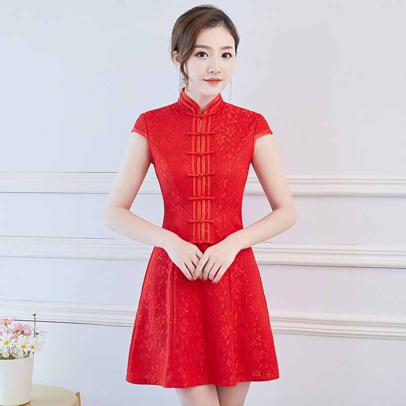 Short Style Red Women's Mini Cheongsam Traditional Chinese Lace Qipao Dress New Arrival Vestido Size S M L XL XXL XXXL 27513A-in Dresses from Women's Clothing    1