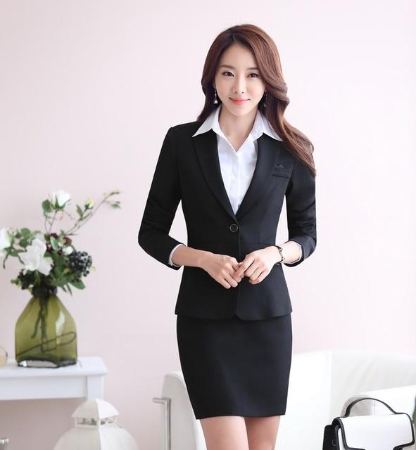 Otoño Formal mujeres juegos de falda Blazer y sistemas Jacket para mujer  elegantes trajes de negocios 7b902c903e41