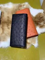 High End Soft 100% Genuine ostrich skin leather wallets and purse bank credit card holder with handle long zipper wallets