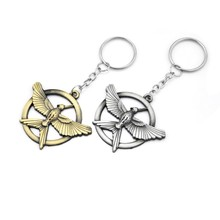 Pop Game The Hunger Games Keychain Popular Vintage Silver Gold Birds Bag Charms Snitch Pendent Key Chain Man Car Keyring Holder
