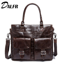 DALFR Cowhide Designer Handbags 20 Inch Vintage Genuine Leather Laptop Bags Shoulder Bags Men Messenger bags