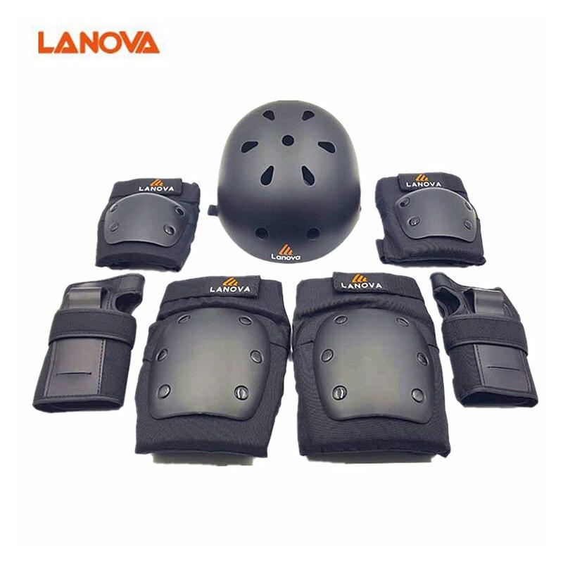 LANOVA7pcs/Ensemble de Protection patins Ensemble Genouillères Coudières Poignet Protecteur casque Protection pour Scooter Vélo Rouleau De Patinage