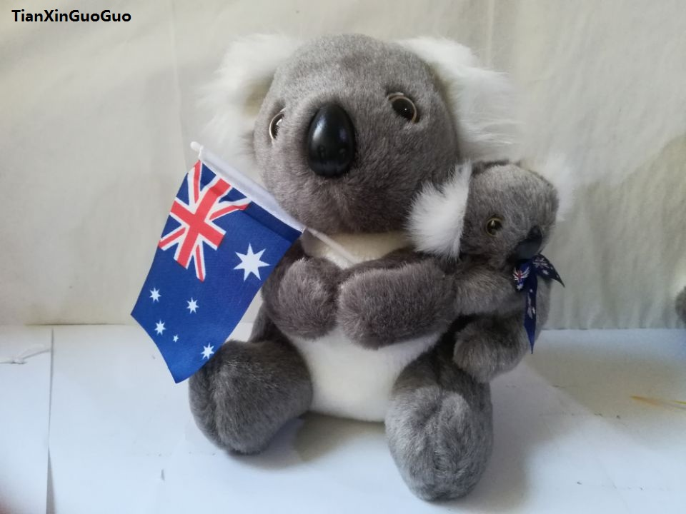 about 20cm lovely koala plush toy little baby koala on the back ,soft doll kids toy Christmas gift b1423