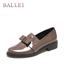 BALLEI Luxury Woman Spring Flats Vintage Patent Leather Pointed Toe Soft Square Heel Shoes Butterfly-knot Retro Casual Flat P46