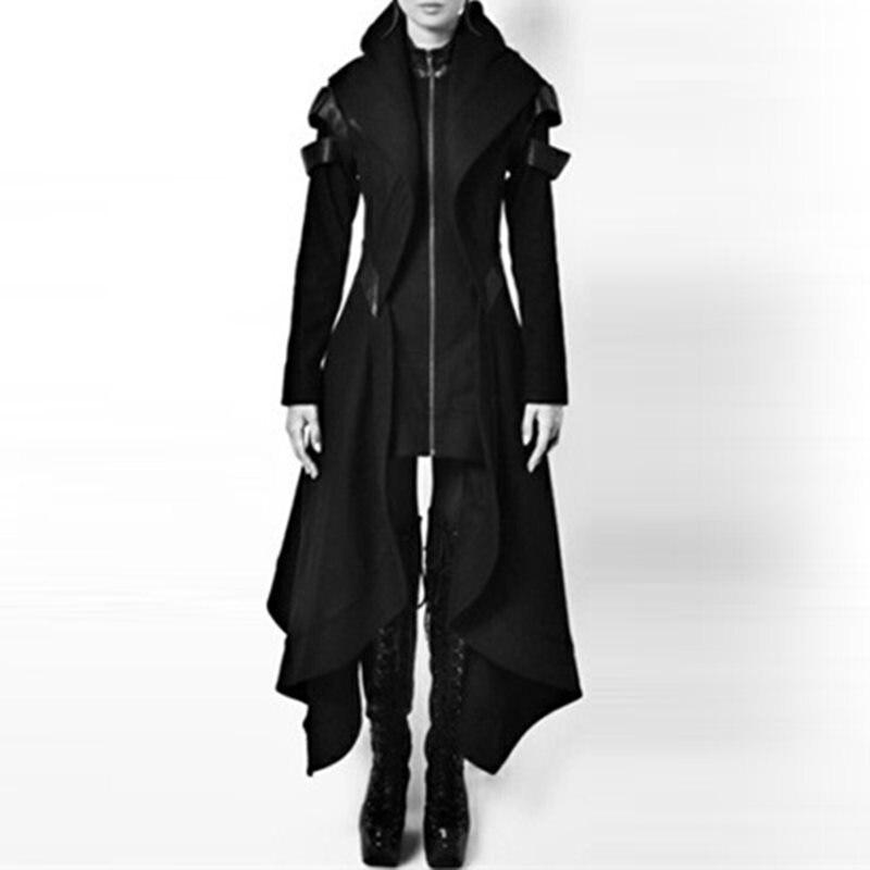 Женское длинное пальто, повседневное, черное, готическое, крутое, размера плюс 5XL, тонкая, с капюшоном, на молнии, винтажное, зимнее, женское, в