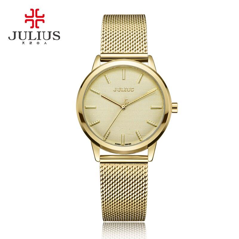 Women Quartz Watches Office Ladies Business Whatches Mesh Steel Julius Montre Korean Female Golden Bracelet Clock