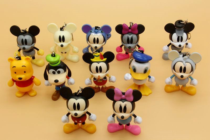 12pcs/set Cartoon Mickey Minnie keychain PVC High quality Cute Mouse Key Chains Pendant Figures toy Free Shiping 30cm mickey mouse and minnie mouse toys soft toy stuffed animals plush toy dolls