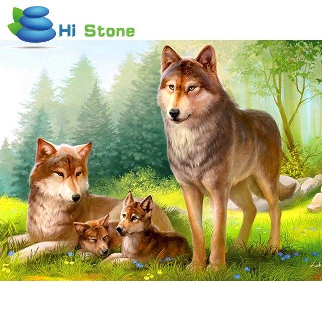 5D, DIY, Diamant, Malerei Wolf, Familie, Handgemachte, Diamant ...