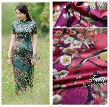 150cm heavy stretch printed fabric chinese high imitation silk oil painting bird print scarf dress wholesale cloth