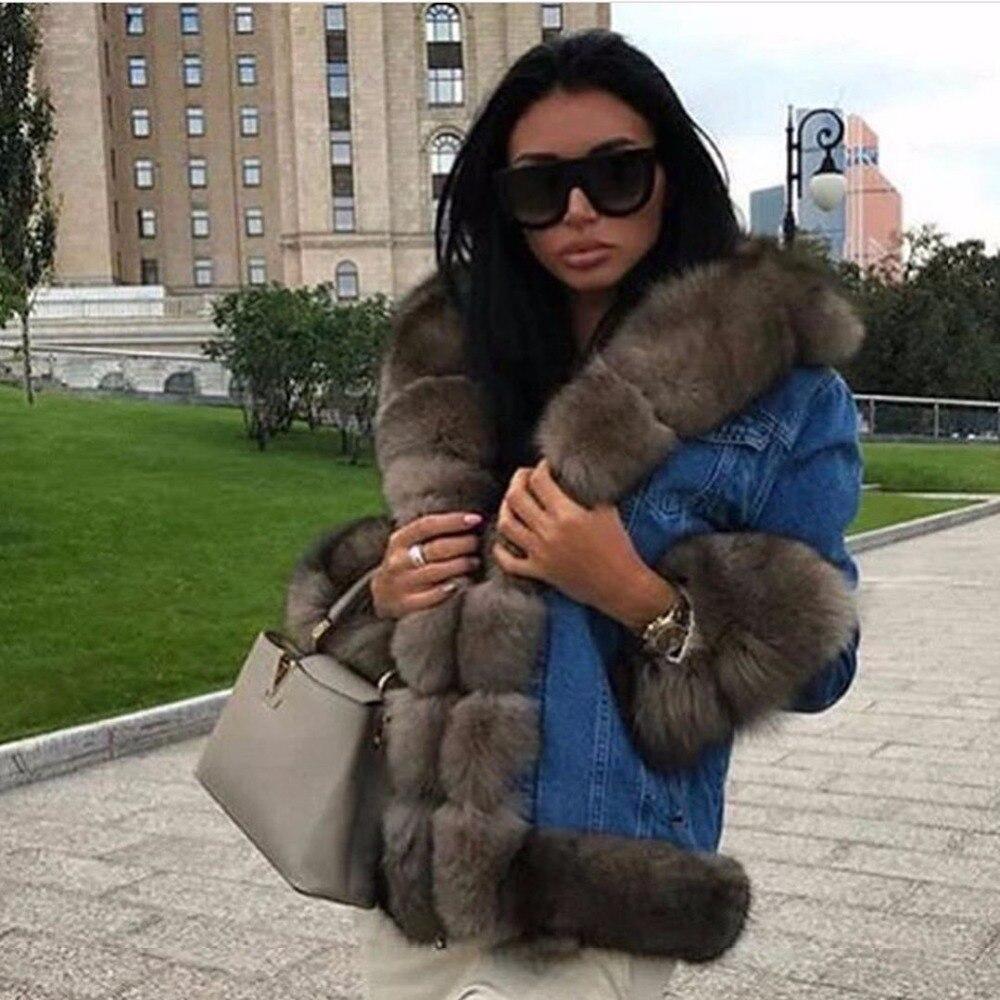 Avec Renard Épais Naturel Color Parkas Russe D'hiver Femelle Femmes Col noir Parka Fourrure Jakcet Fox Denim Manteau Réel Style Chaud De Sable paO7Ianqw