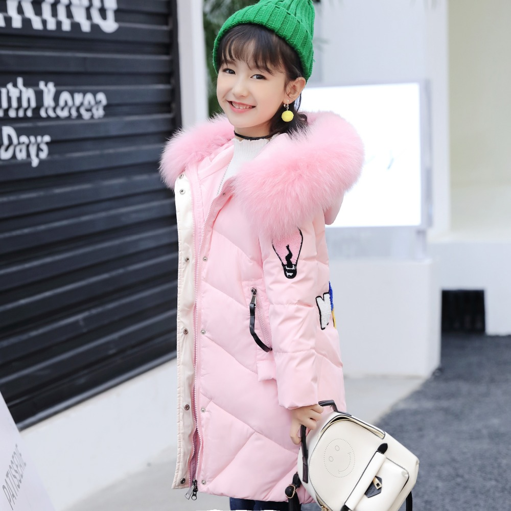 2017 New Fashion Girls Winter Down Jacket Parkas Children Thickening Warm Jackets Girls Long Section Hooded Fur Collar Coats new 2017 winter baby thickening collar warm jacket children s down jacket boys and girls short thick jacket for cold 30 degree