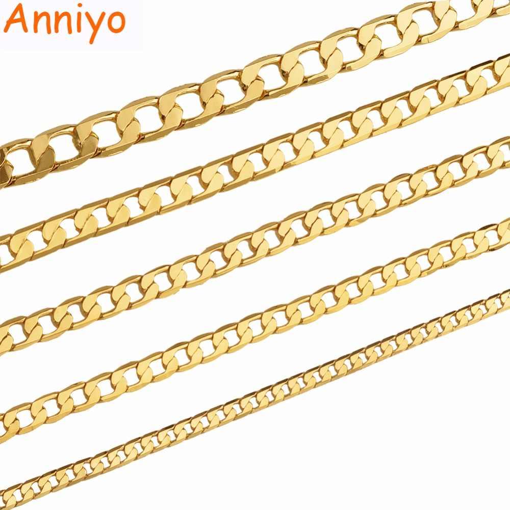 Anniyo (ONE PIECE) długość 50 cm/60 cm Chain naszyjniki dla kobiet mężczyzn złoty kolor hurtownie biżuteria moda łańcuchy #17