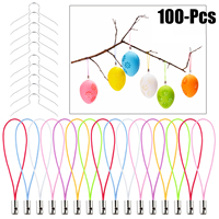 100Pcs/Set Colorful DIY Hanging Strap Ester Lanyard Hanging Rope Assortment For Easter Eggs Ornament