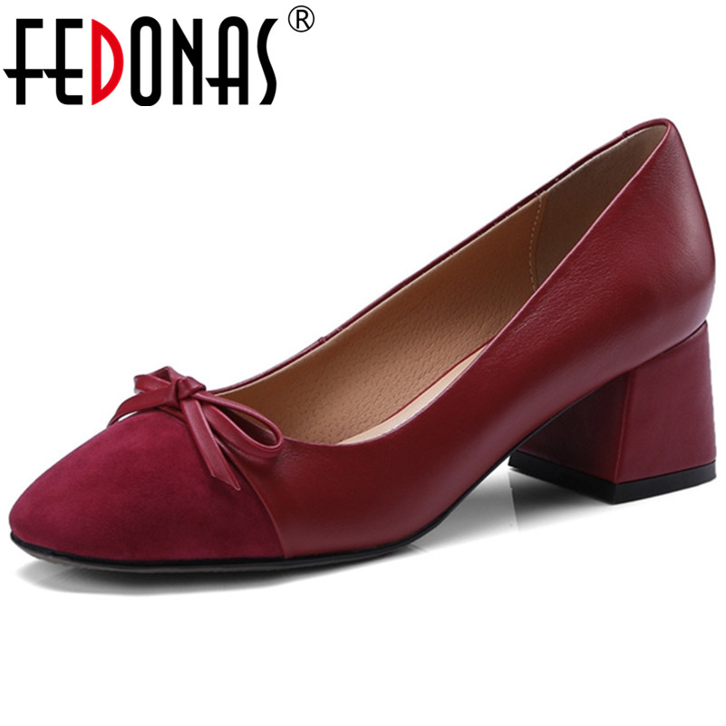FEDONAS New Arrival Women Genuine Leather Pumps Bowtie Wedding Party Shoes Woman Thick High Heels Basic